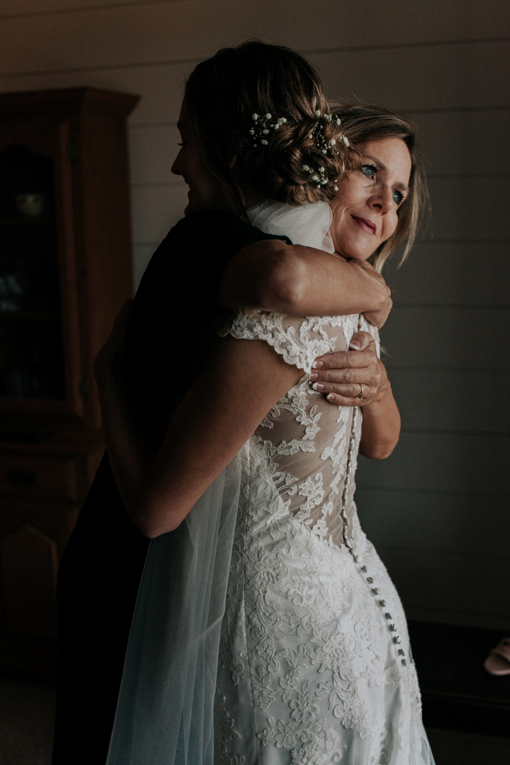 Mother Daughter Getting Ready Intimate Farm Wedding